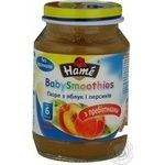 Puree Hame Apple-Peach without starch wuth prebiotics for 6+ month old babies glass jar 190g Czech Republic