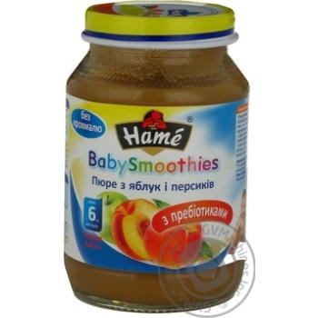 Пюре фруктовое Хаме Яблоко-Персик без крахмала с пребиотиками для детей с 6 месяцев стеклянная банка 190г Чехия