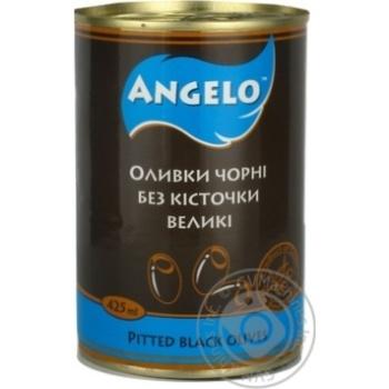 Оливки чорні без кісточки Angelo залізна банка 425г
