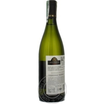 Wine chardonnay Inkerman white dry 14% 2011year 750ml glass bottle Ukraine - buy, prices for Novus - image 2