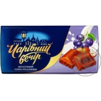 Десерт шокол Чарівний вечір молочный орехи и изюм 85г