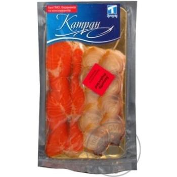 Эсколар-лосось Катран холодного копчения нарезанные ломтиками без кожи 2 сорт 100г вакуумная упаковка