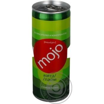 Напиток Моджо Мята-Лайм с соком лайма безалкогольный сокосодержащий сильногазированный пастеризованный железная банка 250мл Украина