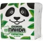 Салфетки Сніжна панда белые 1 слой 24*24см 100шт/уп