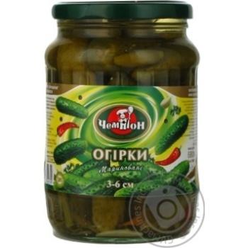 Vegetables cucumber Champion pickled 720ml glass jar Ukraine