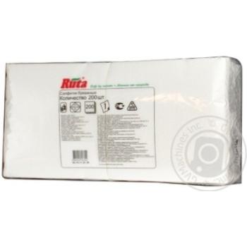 Салфетки Ruta Duo белые бумажные 1-слойные 24*24см 200шт - купить, цены на Novus - фото 2
