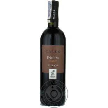 Вино прімітіво Калео червоне сухе 13% 750мл скляна пляшка Puglia Італія