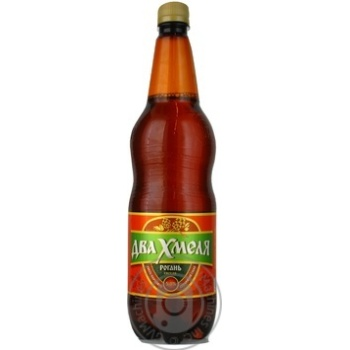 Пиво Рогань Два Хмеля светлое пастеризованное пластиковая бутылка 5%об. 1000мл Украина