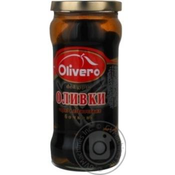 Оливки черные Olivero бочковые с косточками 350г