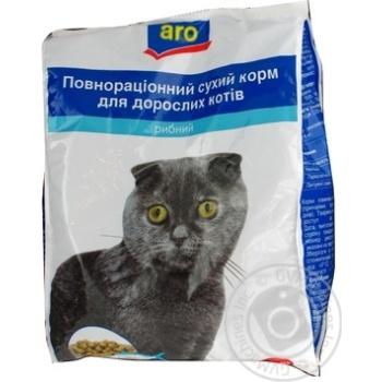 Корм Aro сухой полноценный с рыбой для котов 2500г - купить, цены на Метро - фото 1