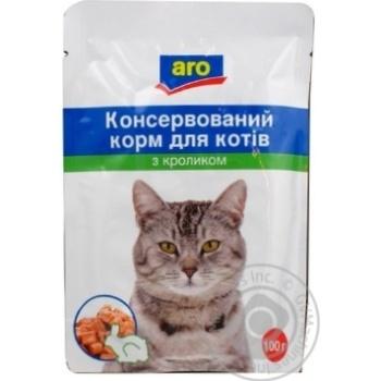 Корм Aro консервированный с кроликом для котов 100г