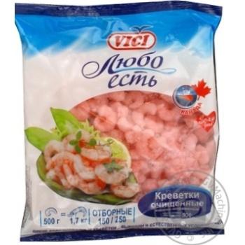 Креветки Vici Любо Есть отборочные очищенные варено-мороженые 500г Россия