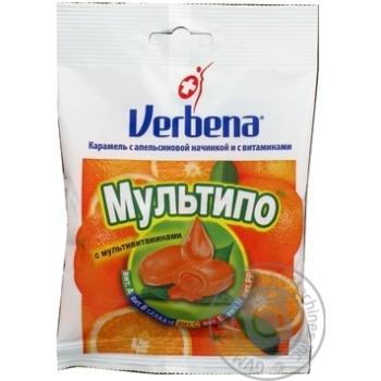 Карамель Verbena Мультіпо з апельсиновою начинкою та вітамінами 60г