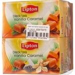 Black pekoe tea Lipton Vanilla Caramel flavored teabags 2х36g Russia
