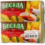 Tea Beseda lemon black packed 52pcs 78g cardboard packaging Russia