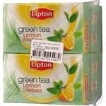 Зелений чай Ліптон Лимон Мелісса байховий ароматизований в пакетиках 2х32г Росія