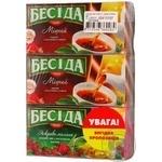 Tea Beseda black packed 24pcs 43.2g cardboard packaging Russia