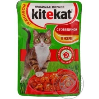 Корм для взрослых котов Kitekat с говядиной в желе 100г - купить, цены на Восторг - фото 6