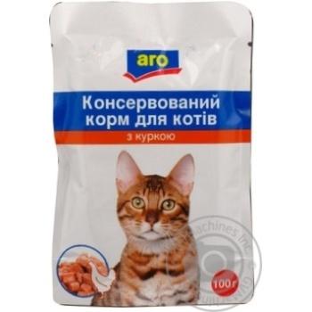 Корм Aro консервированный с курицей для котов 100г