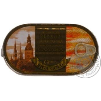 Салака Рижское золото копченая в масле 190г Латвия - купить, цены на Novus - фото 1
