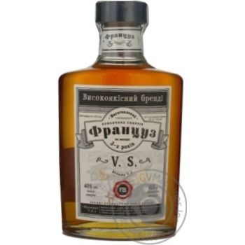 Brandy Francuz 40% 500ml glass bottle Ukraine