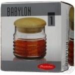 Банка з дерев'яною пробкою Pasabahce Babylon 0,66л