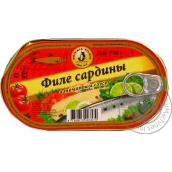 Филе сардины Бривайс Вильнис в томатном соусе 190г Латвия