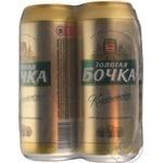 Pasteurized lager Zolotaya Bochka Classicheskoe can 5%alc 4x500ml Ukraine
