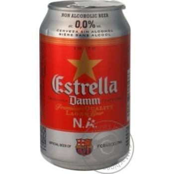 Пиво Эстрелла Дамм безалкогольное железная банка 330мл Испания
