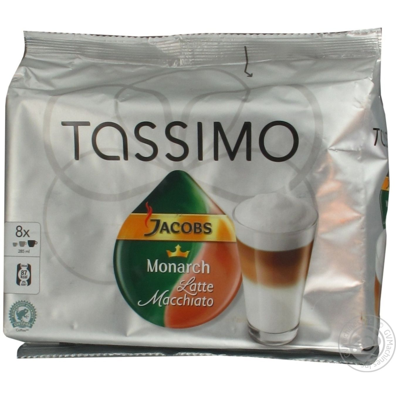 Natural roasted ground coffee Jacobs Monarch Tassimo Latte