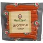 Sausages Druzhba narodiv European pork 250g vacuum packing Ukraine