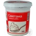 Сметана Файн Фуд 25% 350г пластиковый стаканчик Украина