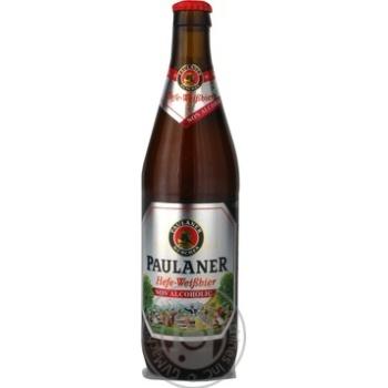 Пиво Paulaner светлое нефильтрованное пастеризованное безалкогольное стеклянная бутылка 0.5%об. 500мл Германия