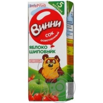 Сок Винни яблоко-шиповник детский осветленный восстановленный стерилизованный без сахара с 5 месяцев тетрапакет 200мл Россия