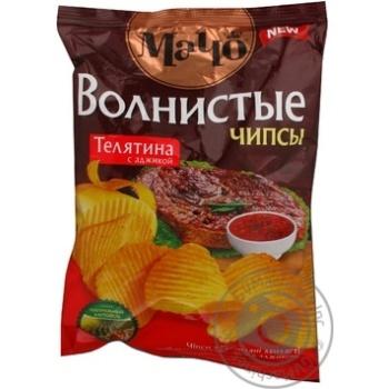 Чипсы Мачо Волнистые картофельные со вкусом телятины с аджикой 70г Украина