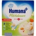 Продукт кисломолочный Хумана с яблоком и абрикосами с натуральными пребиотиками для детей с 6 месяцев 2.8% 4х100г