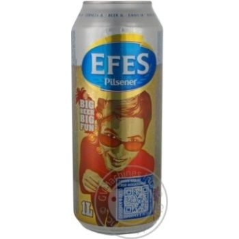 Pasteurized lager Efes Pilsener can 5%alc 1000ml Russia