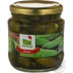 Vegetables cucumber Ukrpole pickled 480g glass jar Ukraine