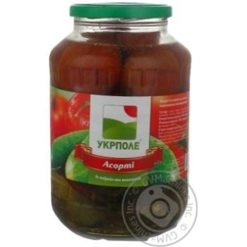 Овощи помидор Укрполе консервированная 1450г стеклянная банка Украина
