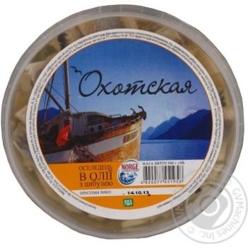 Филе сельди Охотская кусочки в масле с луком 500г Украина