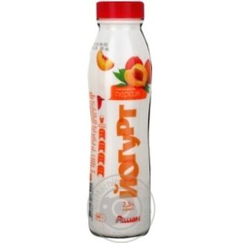 Йогурт Ашан персик питьевой 2.5% 300г пластиковая бутылка Украина