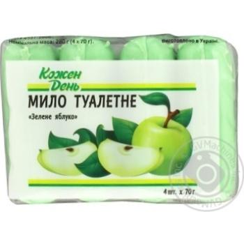 Мыло Каждый День туалетное зеленое яблоко 4шт*70г