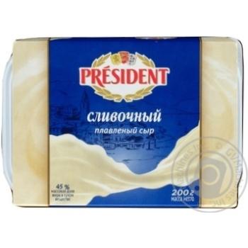 Скидка на Сыр Президент Сливочный плавленый 45% 200г Россия