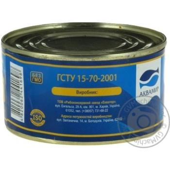 Косерва рибна Аквамир скумбрія стерилізована натуральна з додаванням олії 230г - купити, ціни на Novus - фото 4