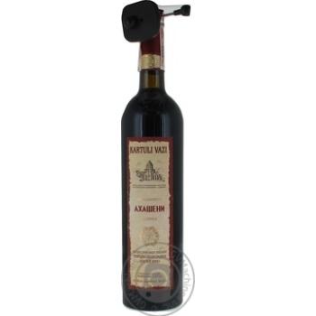 Вино красное Картули Вази Ахашени натуральное виноградное высококачественное природно-полусладкое 11% 750мл
