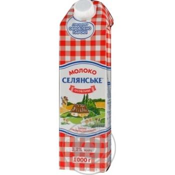 Молоко Селянское Особое ультрапастеризованное 3.2% 1000г - купить, цены на Фуршет - фото 1