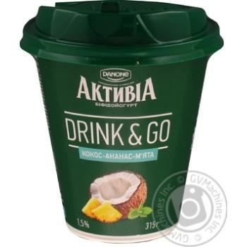 Біфідойогурт 1,5% кокос-ананам-м'ята Активіа стакан 315г - купить, цены на Novus - фото 1