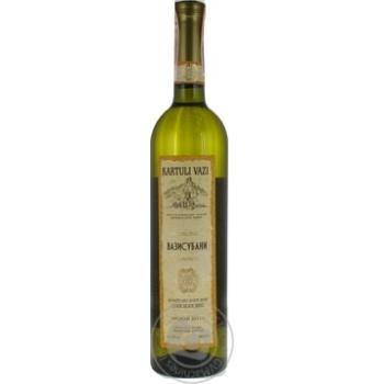 Вино белое Картули Вази Вазисубани натуральное виноградное высококачественное сухое 12% 750мл