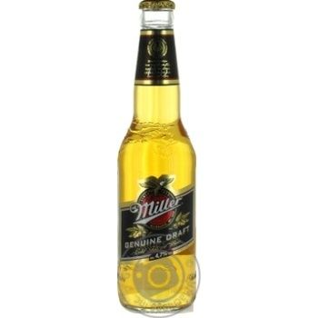 Пиво світле Miller Genuine Draft 4,7% 0,33л скл/пл