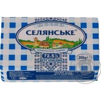 Масло Селянское сладкосливочное 72,5% 200г